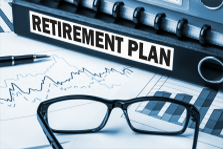 Image: Retirement plan label on folder.