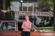 Image: Student arriving at college as a freshman.