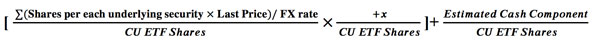Fair Value iNAV formula