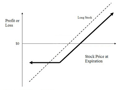 Profit/loss diagram of the protective put strategy
