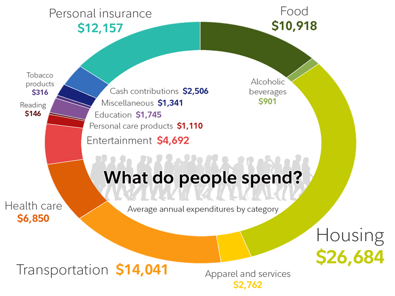 This charts shows average annual expenditure by category with the top 3 expenses being housing, transportion and personal insurance.