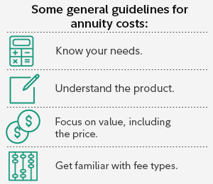 Some general guidelines for annuity costs