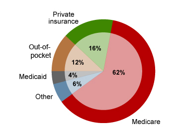 Medical expense coverage sources for Medicare beneficiaries age 65 and older.