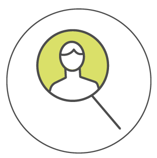 customer in a magnifying glass icon