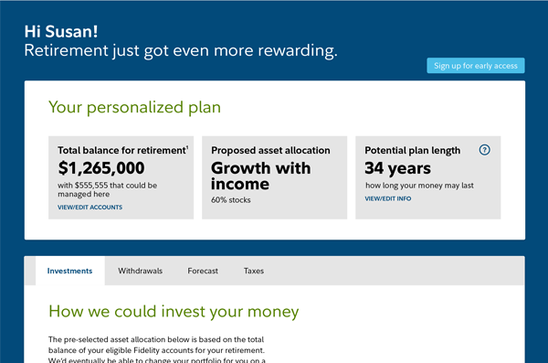 Fidelity Retirement Management personalized plan